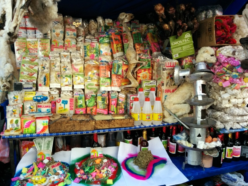 Street stall selling materials for the mesa dedicated to Pachamama.