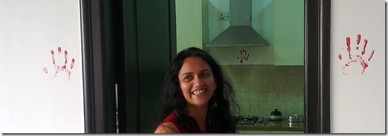 Bakula in her new apartment just after a puja when it is blessed for good fortune